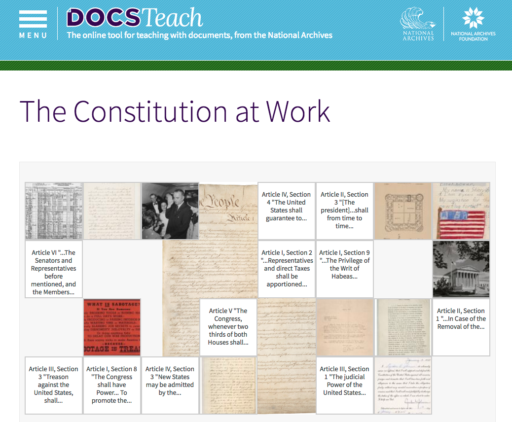 The Constitution at Work - CIVICS RENEWAL NETWORK